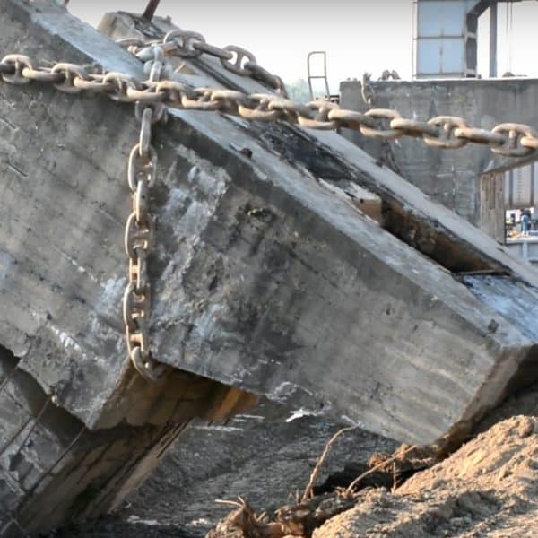Filmare cu drona – demolare controlata Santier Naval Giurgiu